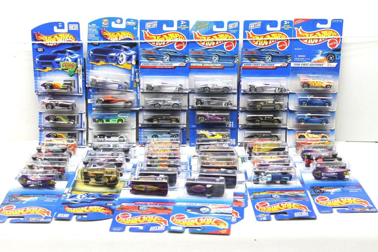55 pc Hot Wheels Die Cast Vehicle Lot 1994-2004 Mattel Phanton+Skullrider+++NOC
