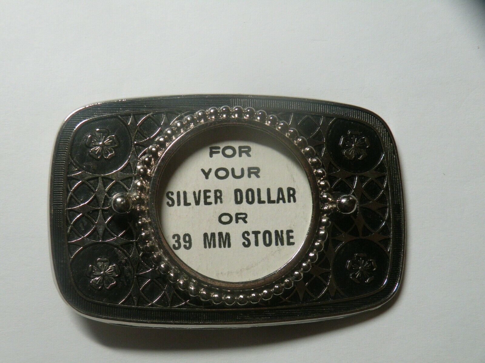 Fancy For Your Silver Dollar or 39MM Stone Silver Tone Metal Belt Buckle