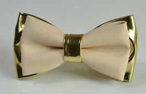 Pearl-White-and-Gold-Faux-Leather-Bow-tie-for-Men-Youth-Boy-Toddler-Baby