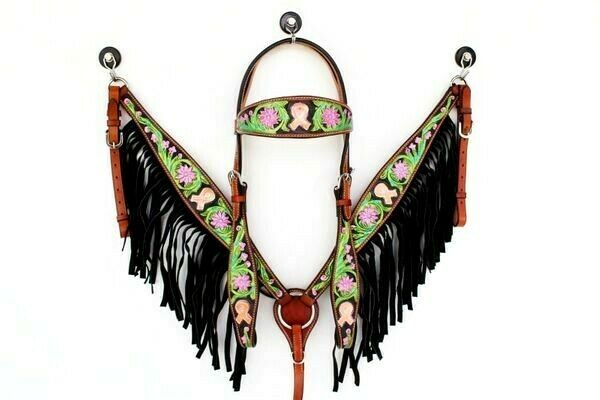 Fringe Leather Western cavallo Bridle Headsttutti Breast Collar Tack Cancer Set