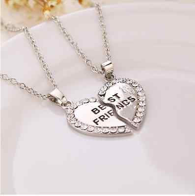 NEW Womens Set Of Two Best Friend BFF Split Heart Friendship Pendant Necklace