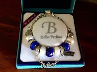 Bella Perlina Charm Bead Bracelet - Blue Stars Moon Believe -