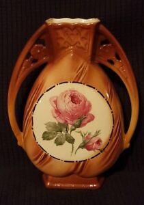 Vintage-antique-ceramic-vase-Made-in-Czechoslovakia-pink-rose-flower