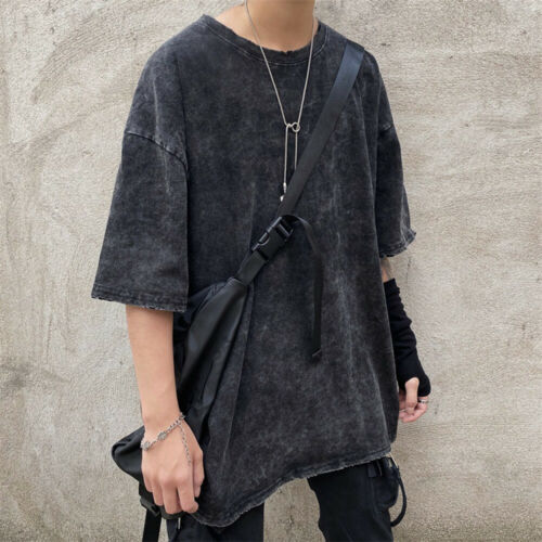 Mens Distressed Ripped Short Sleeve T-shirt Oversized Loose Top Tee Shirt