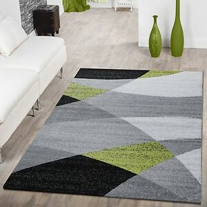 designer teppich gr n meliert kurzflor modern geschwungen optik hochwertig ebay. Black Bedroom Furniture Sets. Home Design Ideas