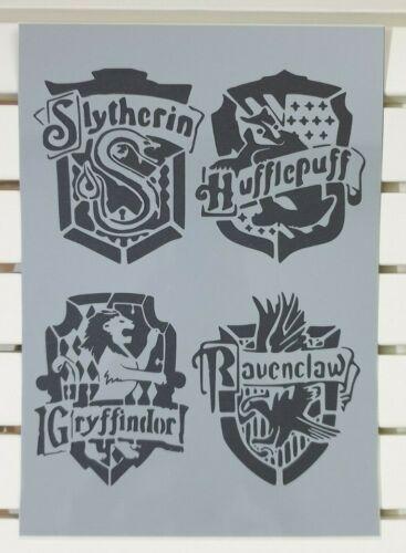 Harry Potter Hogwarts casas emblema Pack Stencil Mylar A4 hoja fuerte Reutilizable