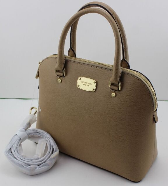 New Authentic Michael Kors Cindy Dk Camel Handbag Md Medium Dome Satchel Womens