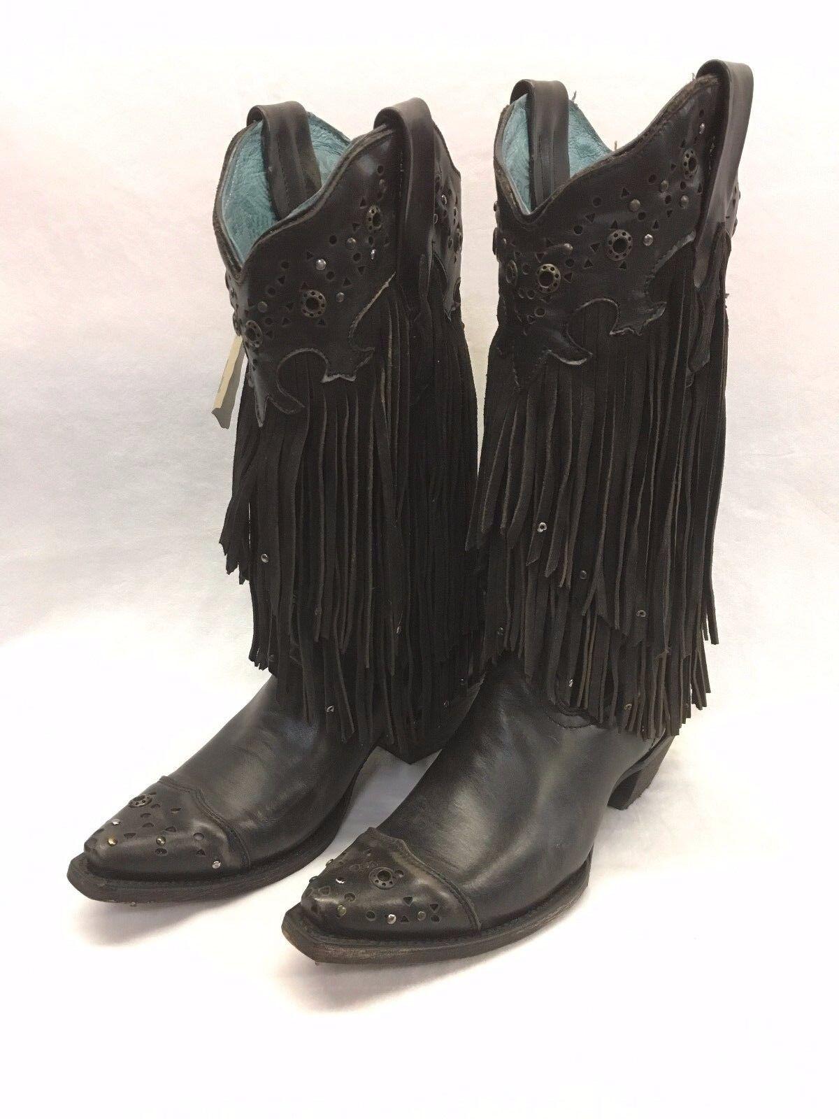 con 60% de descuento Para Para Para mujer botas con flecos Corral Vintage negro con clavos, estilo C1184  en linea