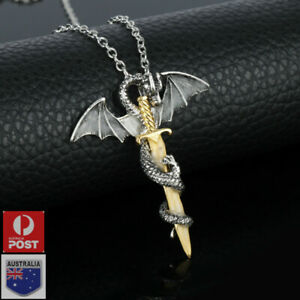 Dragon and Sword Pendant Necklace