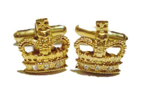 Con Terciopelo Bolsa Impresionante Corona De Oro Joyas Gemelos Reino Unido Vendedor
