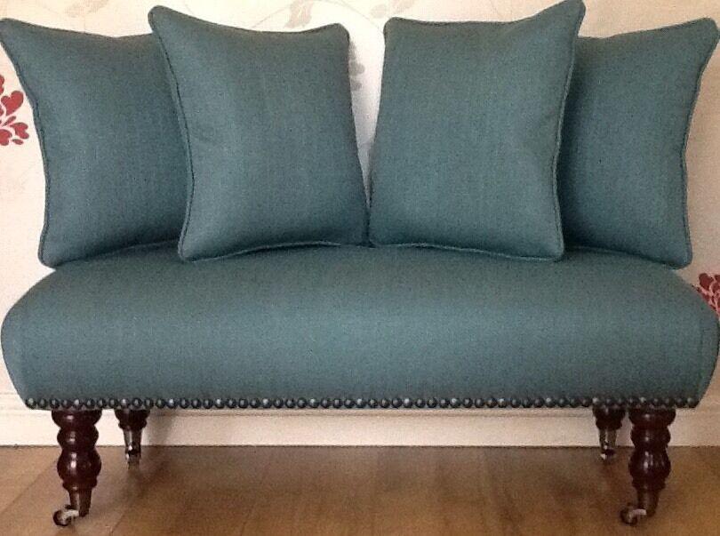 Long Footstool Stool & 4 Cushions Laura Ashley Edwin Teal Fabric