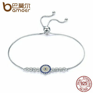 Bamoer-New-S925-Sterling-Silver-Bracelet-With-Clear-CZ-Round-Charm-Women-Jewelry