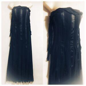 PER-UNA-Women-039-s-UK-12-Black-Dress-Gothic-Vamp-Wicca-Peaky-Blinders-Evening-Opera