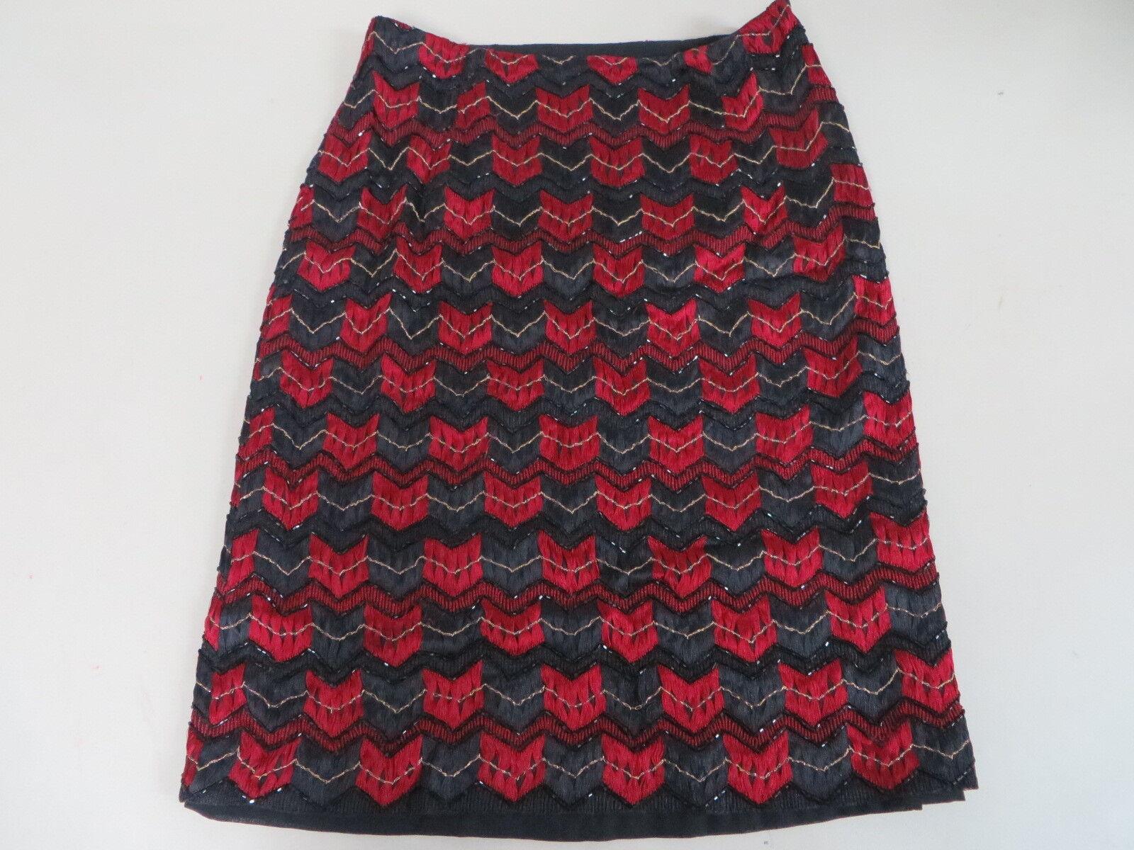 OsCoche de la renta de seda con  cuentas Zig Zag Falda Lápiz Formal Rojo Negro oro 2  forma única