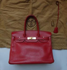 HERMES Birkin bag 30 bag Ladies red Veau Graine Couchevel [Used] 100% authentic