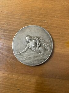 France-Art-Nouveau-c1900-Bronze-Medal-by-Patriarche-Transatlantique-Mermaid-C
