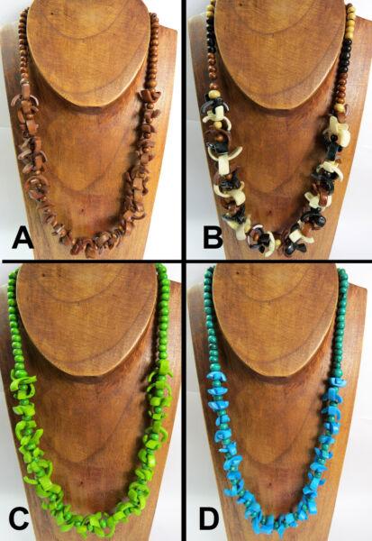 FäHig Halskette Hippie Ethno Naturschmuck Perlen Holz Knochen Versch. Farben Damen Neu