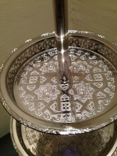 New Handmade Moroccan 3 Tiers Silver Plated Brass Mediterranean Cookies Tea Tray