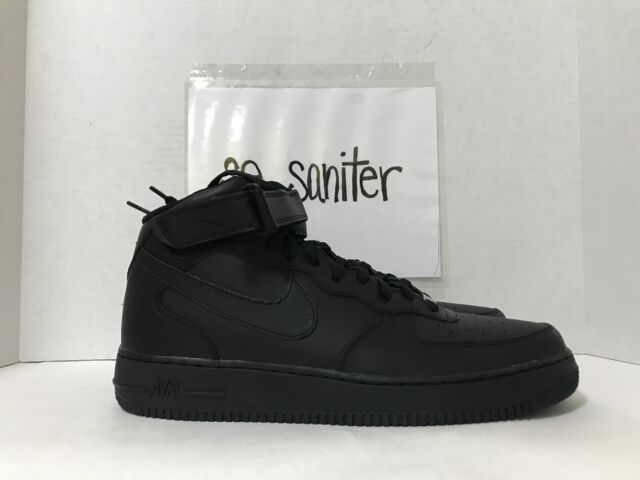 856e4d042 Nike Air Force 1 Mid 07 All Black Af1 Mens Lifestyle Casual SNEAKERS ...