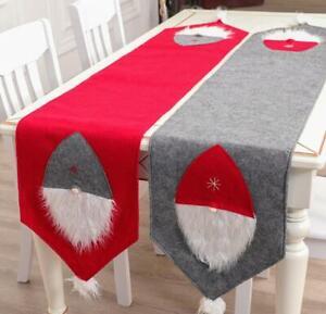 US-Christmas-Santa-Table-Runner-Tablecloth-Cover-Home-Xmas-Party-Table-Decor
