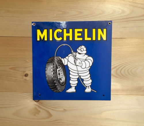 Michelin Tyres Square Vintage Retro ENAMEL METAL TIN SIGN WALL PLAQUE