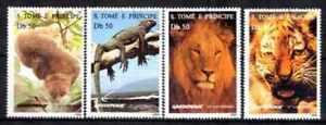 """St Thomas et Prince 1996 Animaux (31) Yvert n° 1264CQ à 1264CT oblitéré used - France - Commentaires du vendeur : """"série complte de 6 timbres oblitérés"""" - France"""