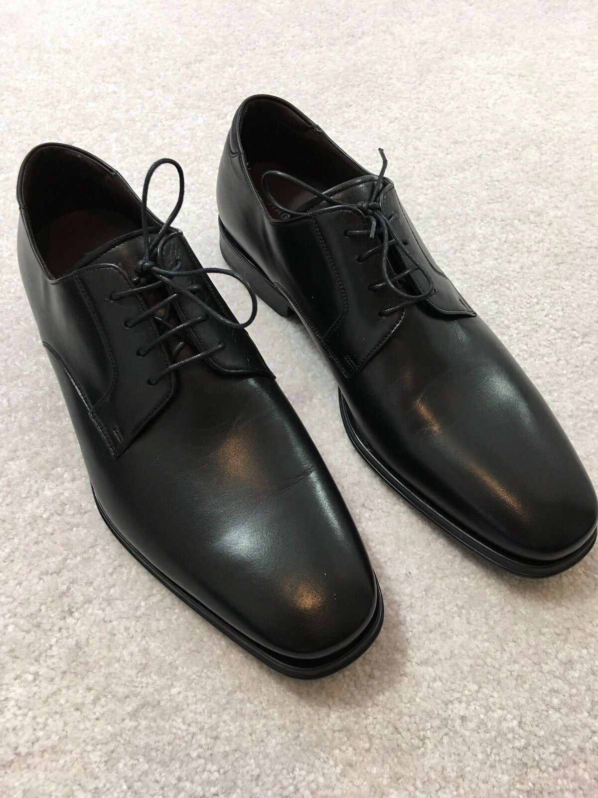 350 MAGNANNI SEVE LEATHER OXFORD DRESS SHOES, BLACK, 10M, ITALY