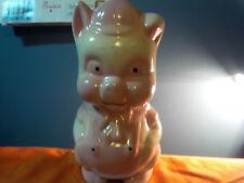 "PIGGY BANK Vintage! CHALKWARE ""FARMER Pig"" :  Carnival PRIZE RARE TO FIND (pp)"