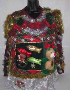 Mens Ugly Christmas Sweater Large L Office Party Winner Tie Skirt
