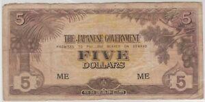Mazuma *M1347 Malaya Japanese WWII JIM 1942 $5 ME AVF No Hole