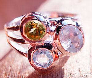Silberring-55-Blautopas-Peridot-Handarbeit-Silber-Ring-Modern-Glitzer-Schlicht