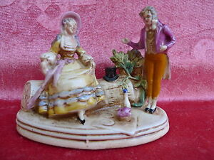 Beautiful-old-Porcelain-Biedermeier-Couple-at-The-Picnic-Marked