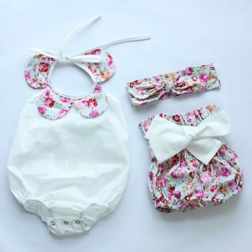 BOUTIQUE BABY GIRL-ROMPER PLAYSUIT BLOOMERS SUNSUIT-3 PIECE SE FLORAL HEADBAND