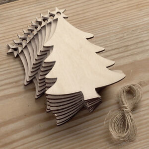10Pcs-Wooden-Christmas-Tree-Kids-Crafts-Hanging-Ornaments-Xmas-Decoration-Gift