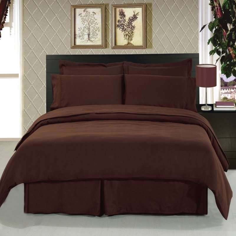 1200 Thread Count Egyptian Cotton 1200 Bed Sheet Set SPLIT KING Chocolate Solid