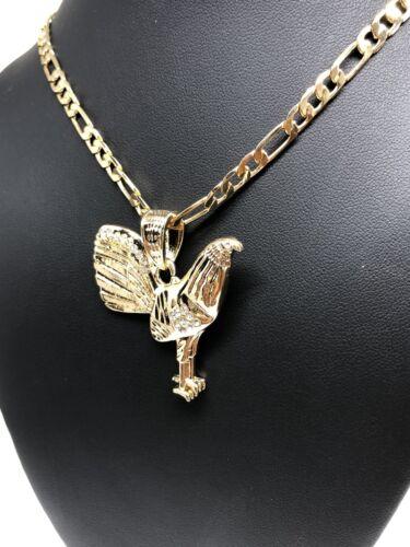 "Chicken Rooster Pendant Necklace 26/"" Cadena Oro Laminado Gallo Medalla Gold P"