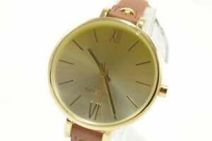 Nine-West-NW2230-Gold-Silver-Dial-Brown-Leather-Strap-Ladies-Watch
