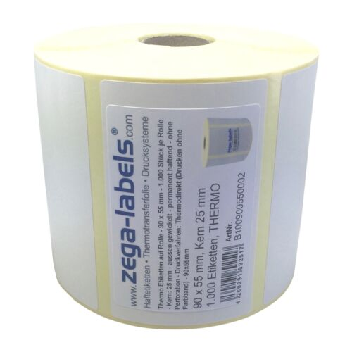 1.000 Stck Kern25mm Zebra GK420 GC LP TLP Thermo Etiketten Rolle 90 x 55 mm