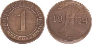 Kaiserreich 1 Pfennig 1924 D Fehlprägung 10 % dezentriert ss-vz 63744