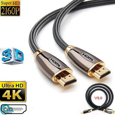 PREMIUM Ultra HD HDMI Cable v2.0 1M//1.5M//2M//5M//10M High Speed 4K 2160p 3D Lead