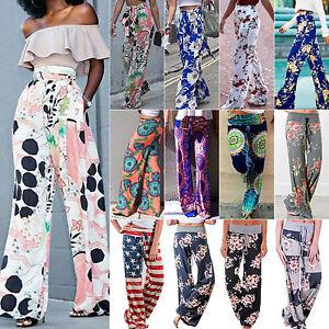 Mujer-Yoga-Hippy-Holgado-Pantalones-Palazzo-Floral-cintura-alta-Largo-Ancho