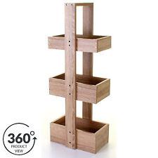 3 Tier Bathroom Organiser Caddy Storage Rack Unit Wooden Freestanding Floor