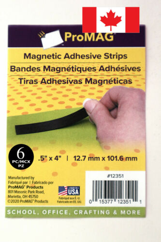 """6pcs magnetic adhesive strips 0.5/""""x4/"""" ProMAG Canada 12.7mm x 101.6mm"""