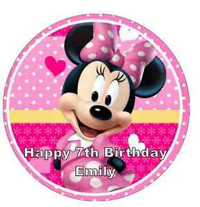 """Minnie Mouse Head Ears Personalised Cake Topper Edible Wafer Paper 7.5/"""""""