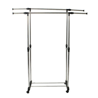 Freely stretching Dual-bar Vertically Stand Clothes Rack Shoe Drying Shelf Steel