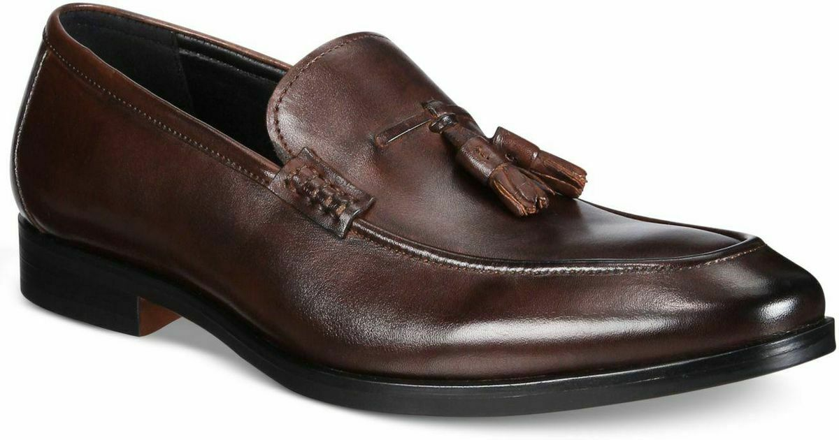 NIB ALFANI Men's Declan Leather Tassel Loafers, Brown Sz. 11