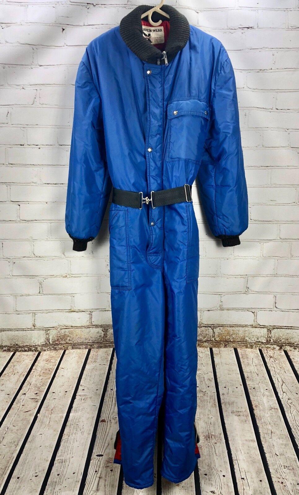Raven Wear Vintage Snowmobiling Snow Suit - Women's L   XL bluee