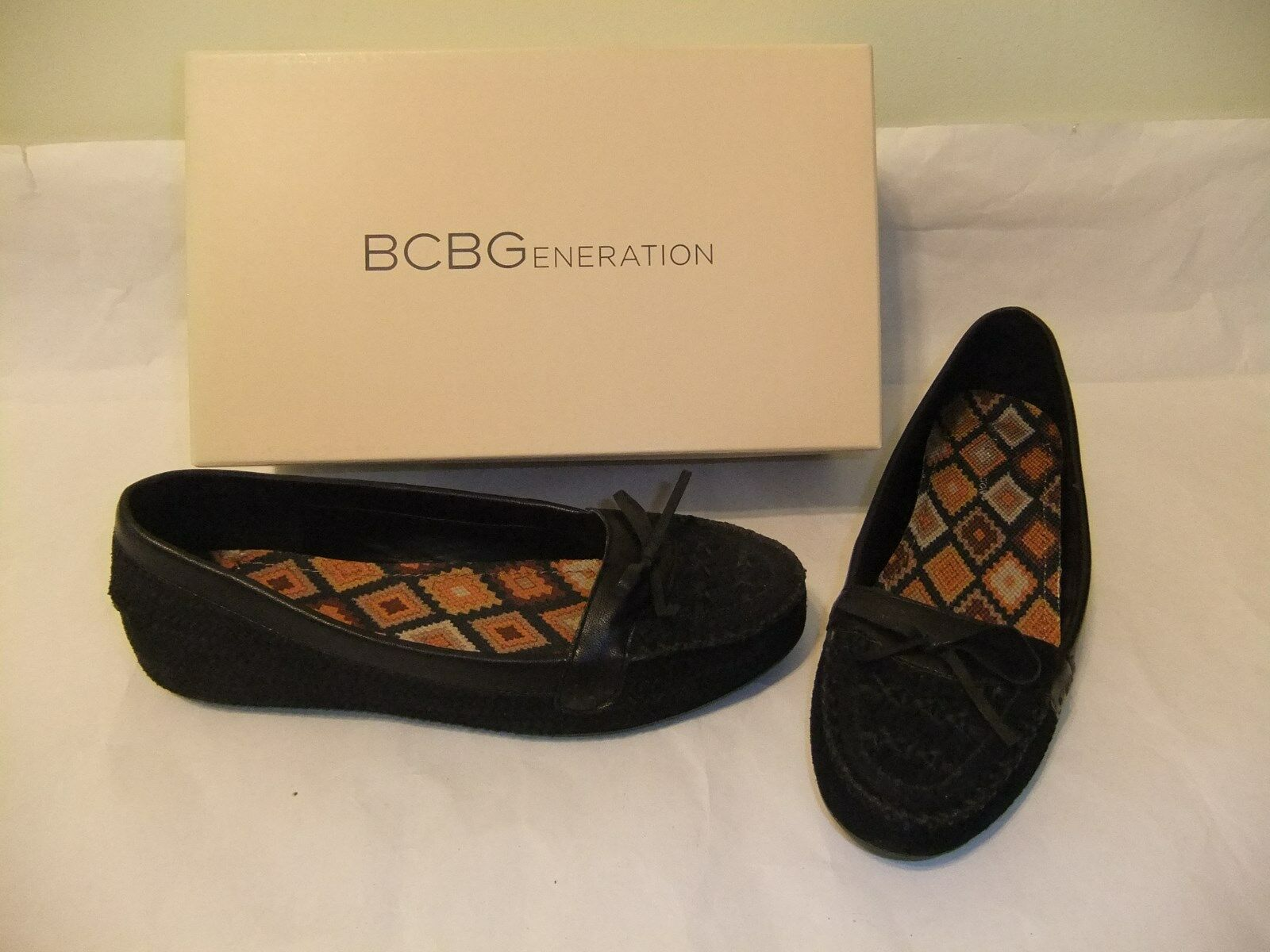 BCBGeneration Posey Black Suede Leather 10 Flat Loafer Moccasin Size 10 Leather NIB $80 fd6b96