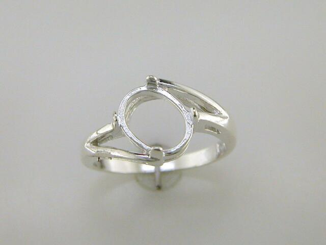Offset Bypass Oval Cabochon Solitaire Ring Setting Sterling Silver