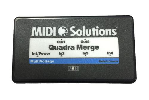 Midi Solutions Quadra Merger Merge four MIDI inputs into two MIDI output